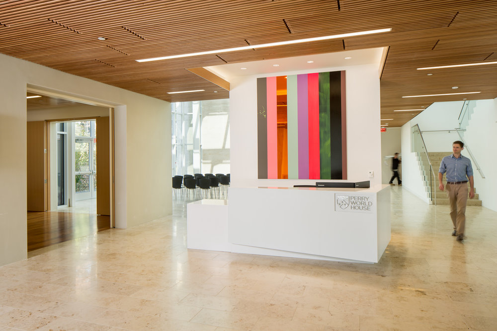 The gateway to Perry World House's World Forum, the artfully designed lobby is often the scene of catered receptions.
