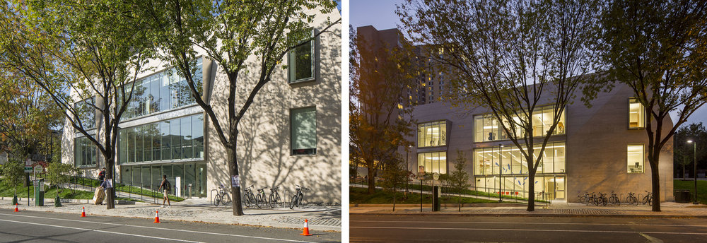 38th Street façade, with and without signs and traffic cones. Here's where great lighting and the perfect time of day change everything!