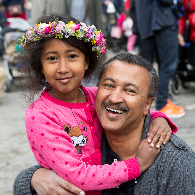 Midsommer celebration in Stockholm: father and daughter, who were originally from Eritrea, and who now call Sweden their home.