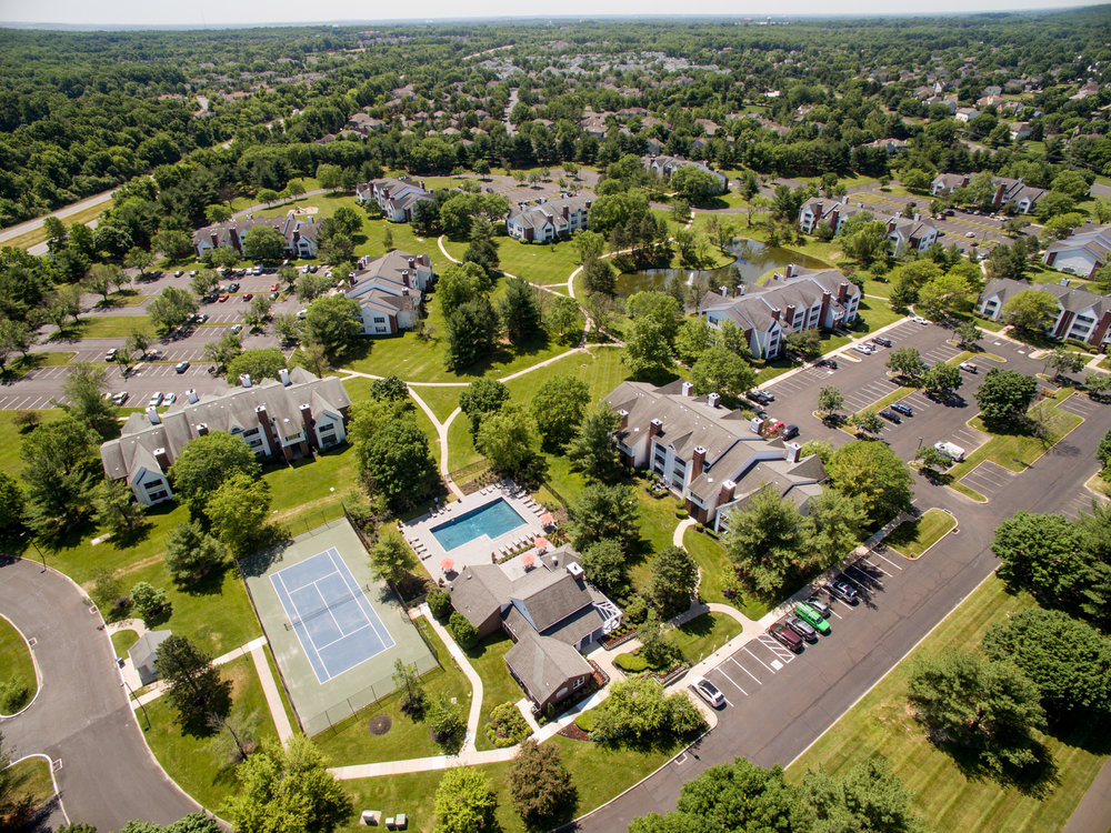 Looks like it could be shot from a helicopter, but it's a drone's-eye view of Polo Run, an apartment complex .