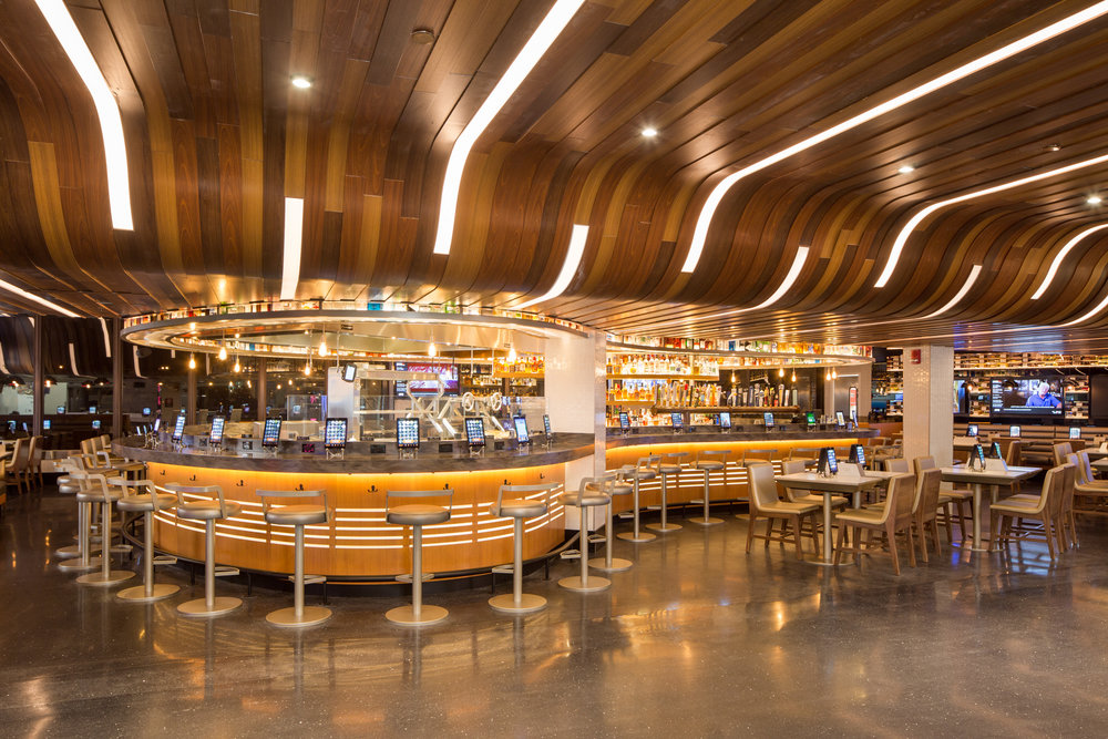The curvy undulating ceiling of Independence Prime draws you into the bar and restaurant.
