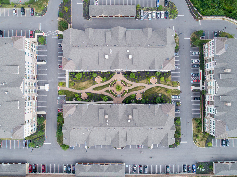 Photograph as an architect's plan, looking straight down via a drone-enabled camera.