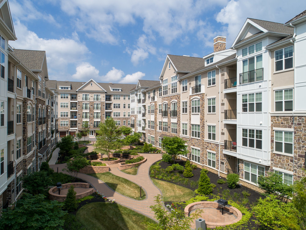 Drone as very tall tripod – The Point at Glen Mills Apartments.