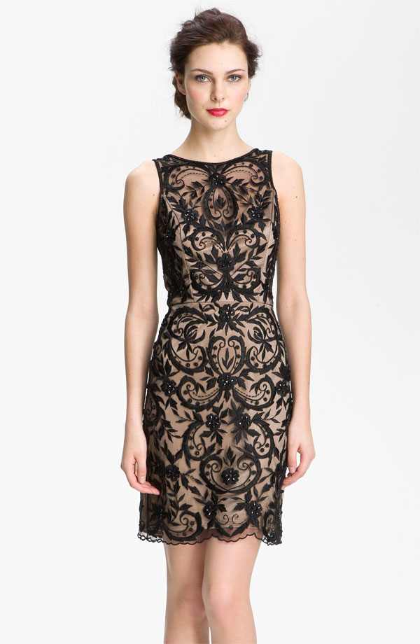 Sue Wong V-Back Embroidered Overlay Sheath Dress.jpg