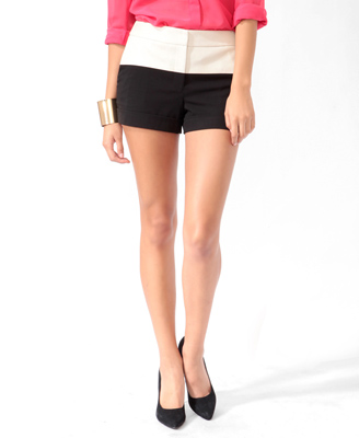 Colorblock Faux Leather Woven Shorts.jpg