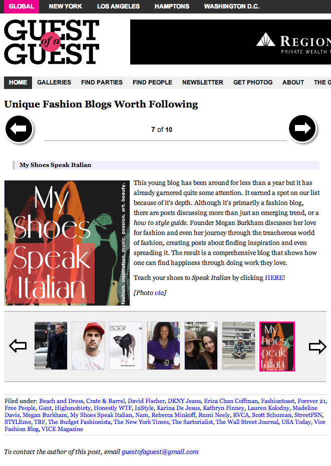 Screenshot of    Guest Of A Guest    article,  Unique Fashion Blogs Worth Following , written by    Cameron Picardi
