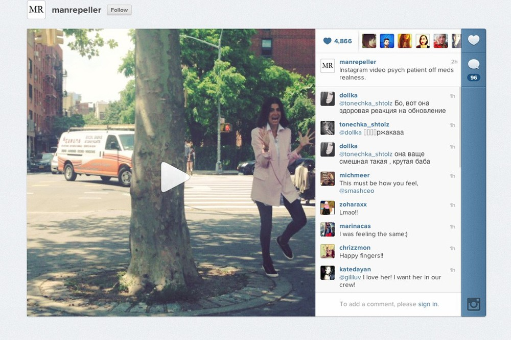 Photo: www.wwd.com Leandra Medine of The Man Repelle's first video on Instagram.