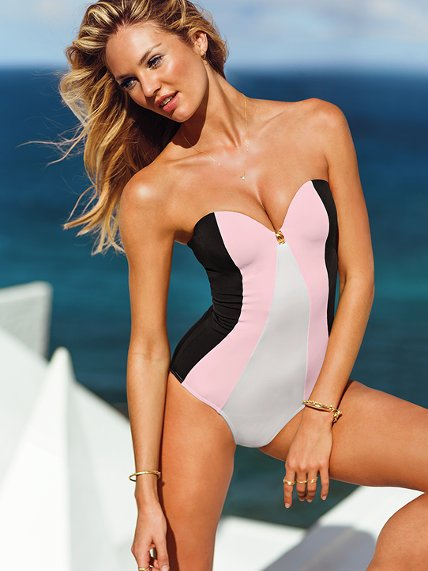 Photo: www.victoriassecret.com     Forever Sexy Colorblock One-Piece REG $78.50 SALE $58