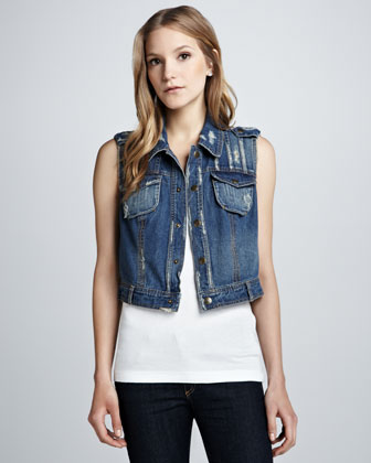 FREE PEOPLE Moody Blue Denim Vest $118