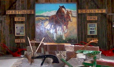 Pat Koch and her daughter Linda painted this picture of horses plowing for the International Plowing Match in Stirling in 1989.