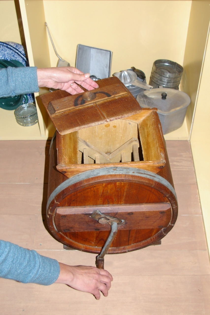 Hand cranked butter churn