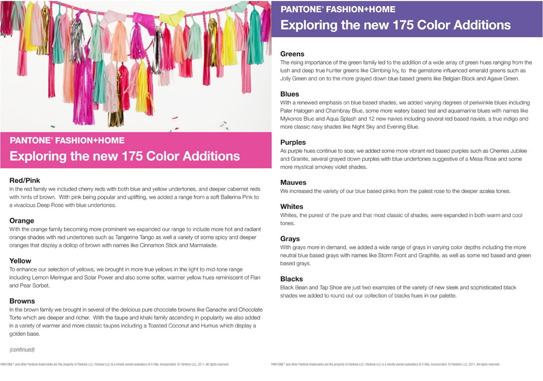 PANTONE's new colors