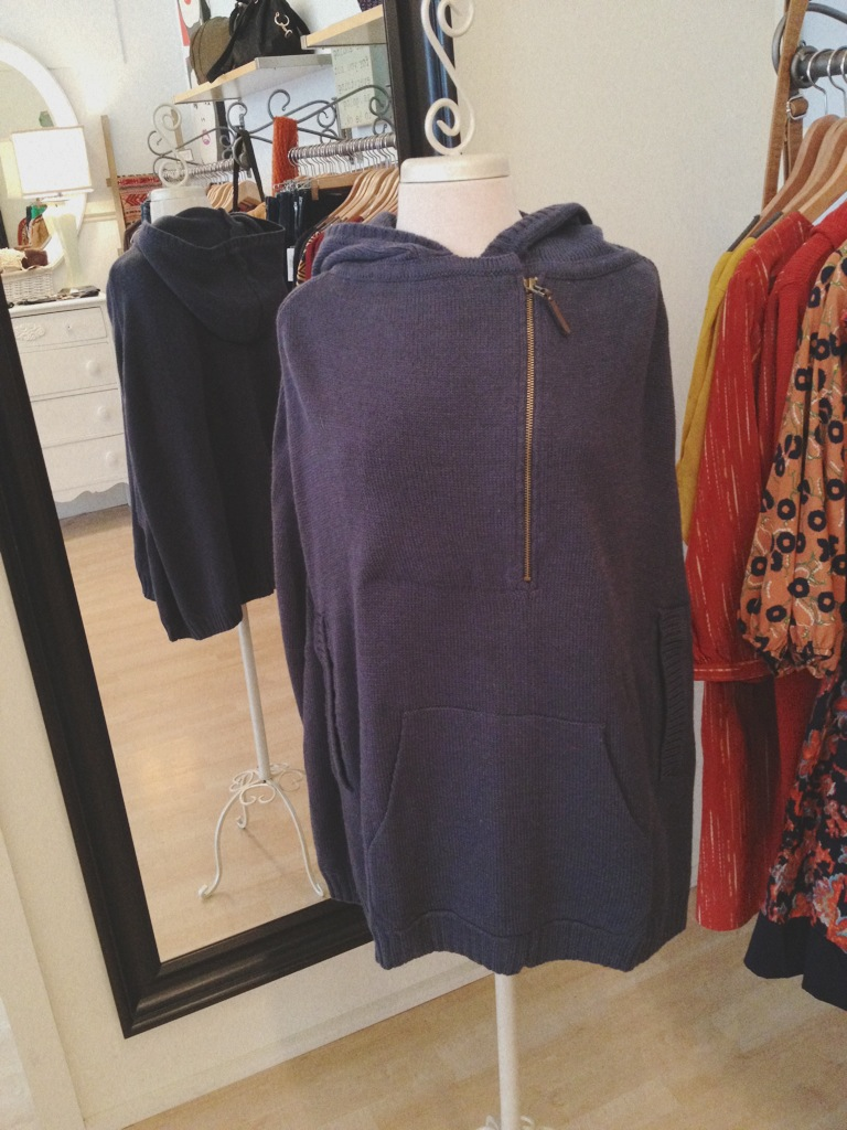 Warm navy hooded poncho. So stylish and popular right now. Pair with leggings or jeans for a hip and comfy look.