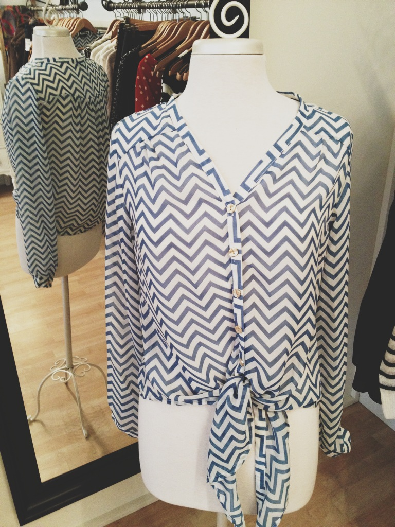 Blue and White Chevron Striped Blouse