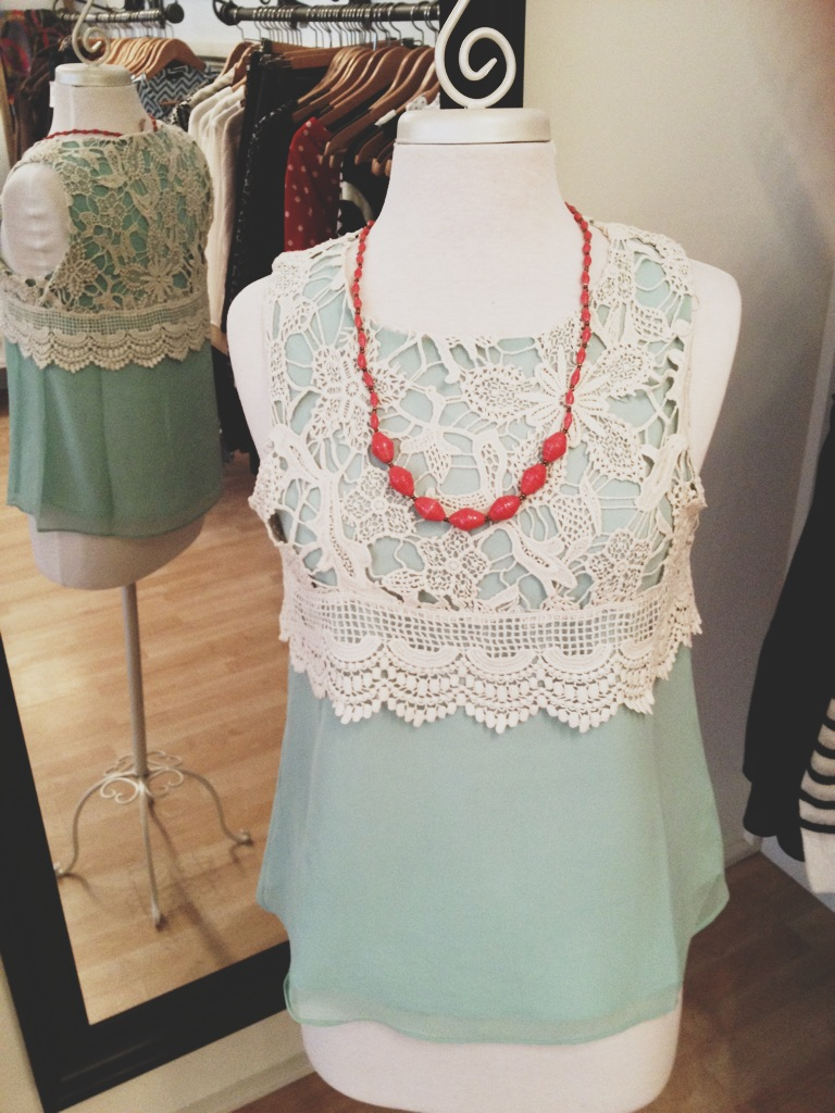 Mint and Lacy Blouse Style Tank Top paired with an adorable 31 Bits Necklace