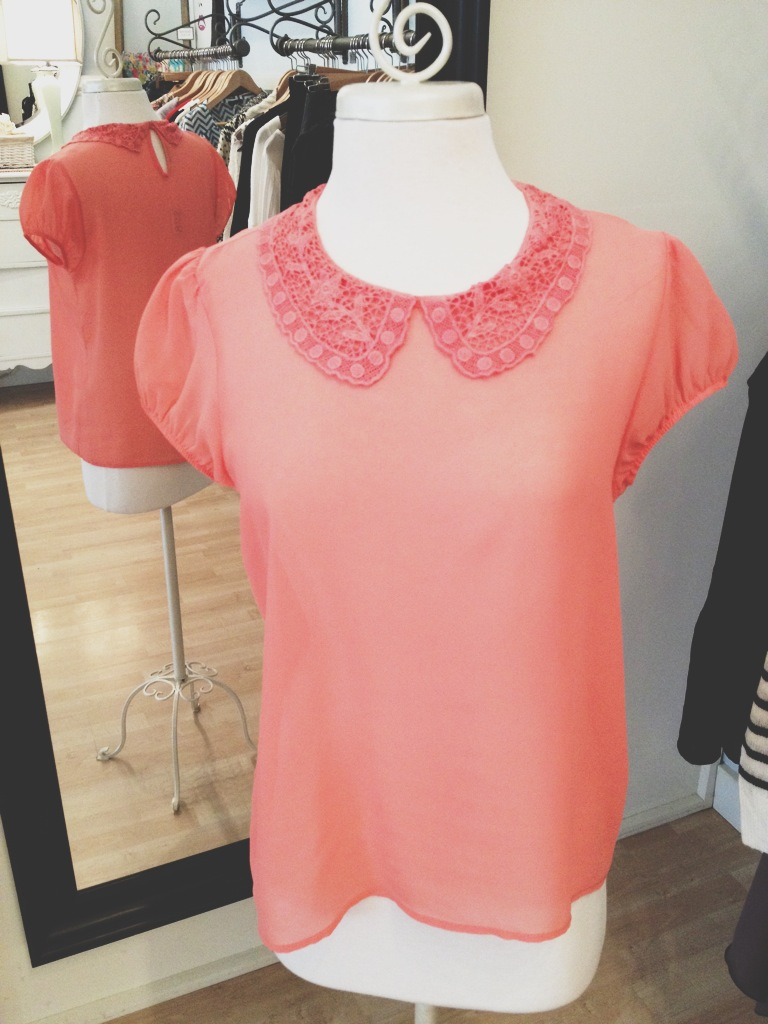 Sheer Coral Tee with Peter Pan Collar.