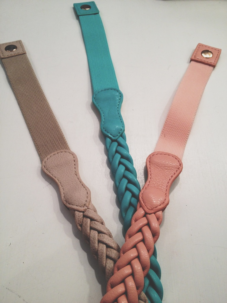 Tan, Teal, and Coral Stretchy Rope Belts.