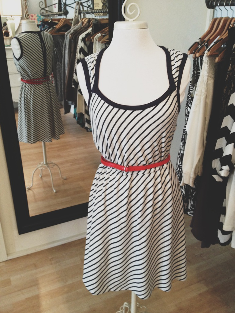 Striped jersey knit dress with red belt
