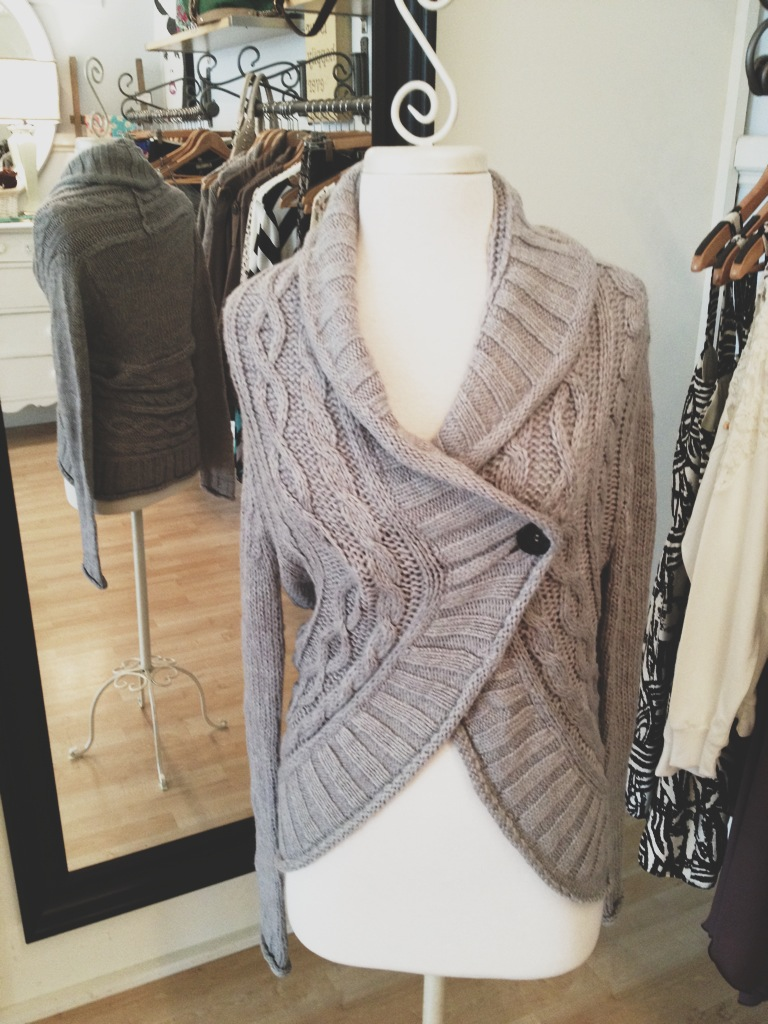 Warm and cozy gray wrap sweater