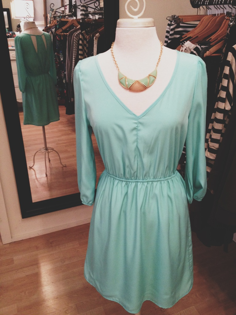 Minty Green Dress with Statement Necklace