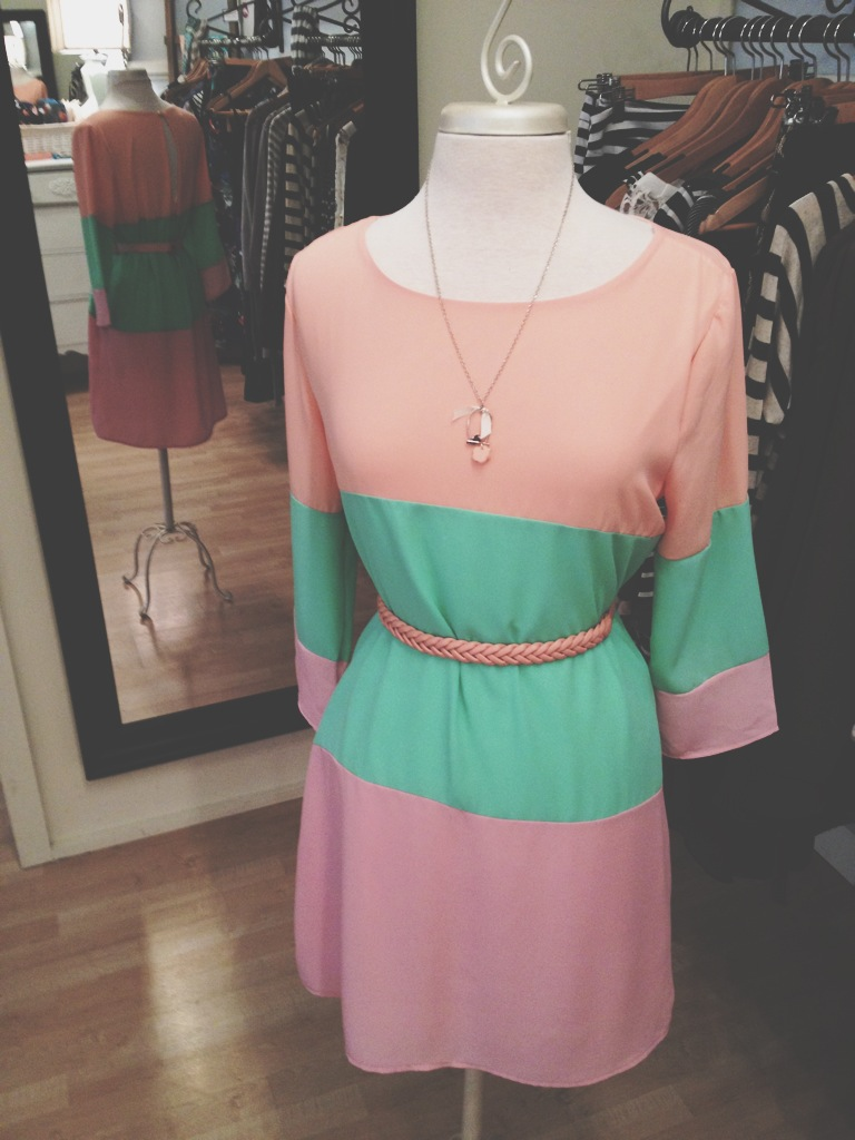 Pastel Color Block Dress. Perfect for Easter!