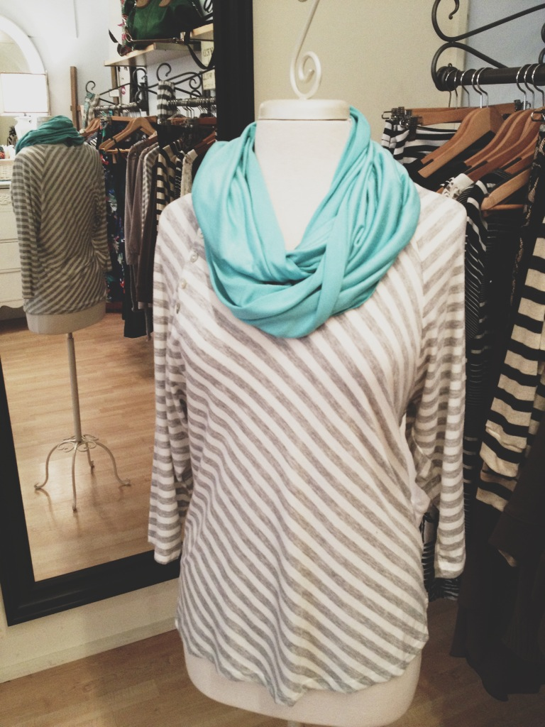 Gray Striped Top with a Dana Herbert Infinity Scarf (Made in Portland).