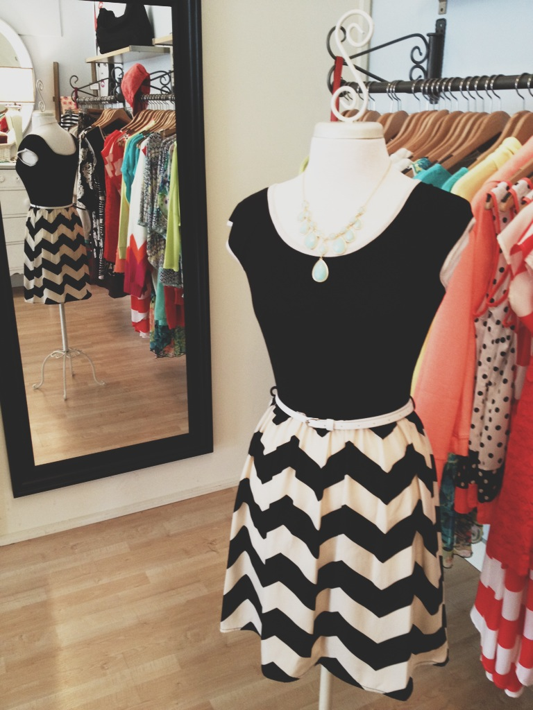 Black Chevron Dress with White Belt