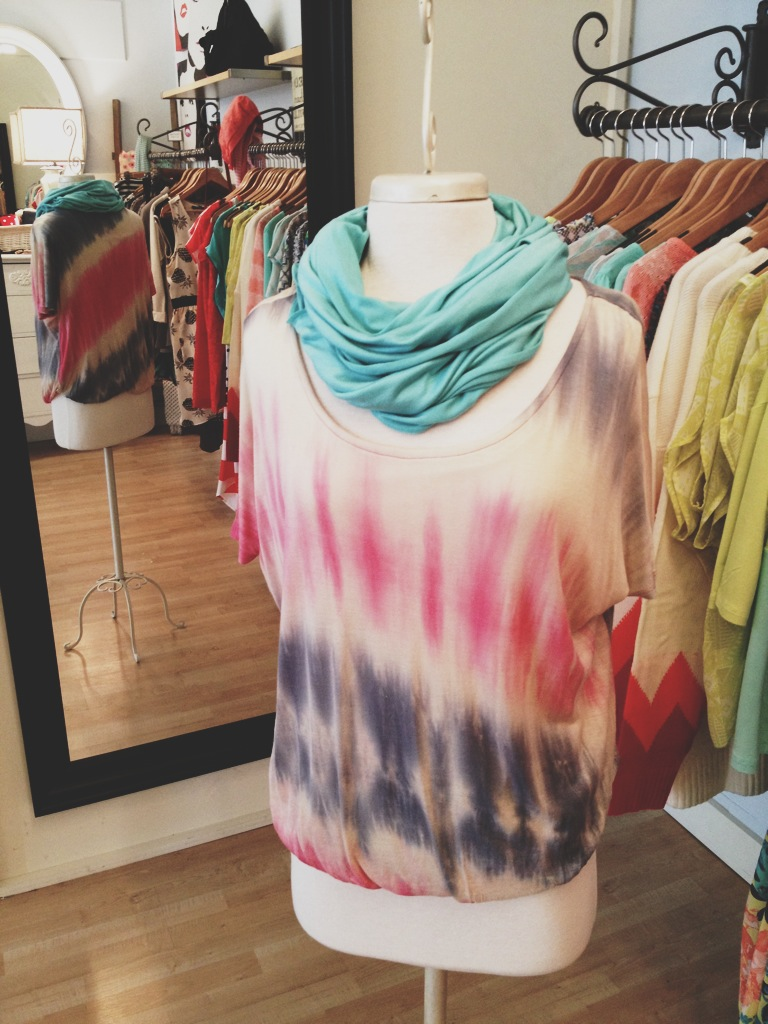 Tye Dye Top with Jersey Knit Scarf