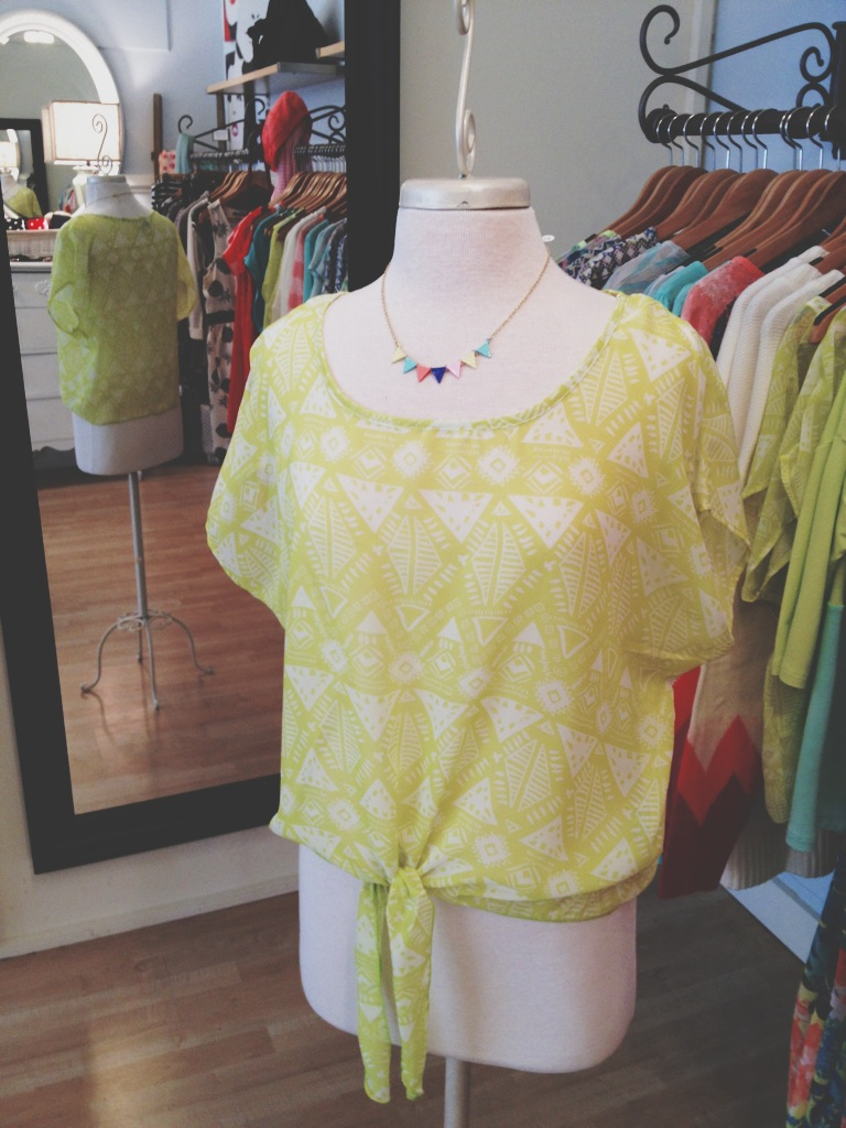 Lime Green Aztec Top