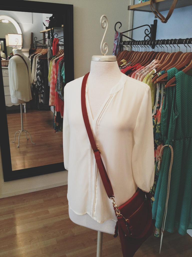 Cream Blouse with Burnt Orange Purse
