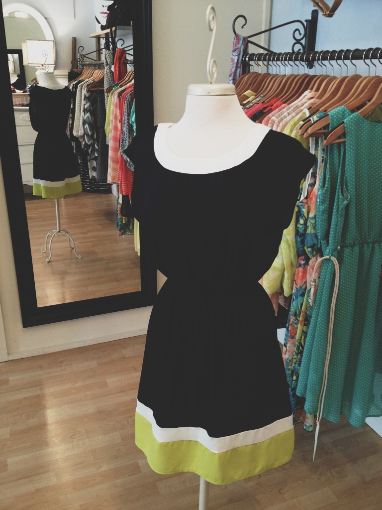Navy Blue Dress with Lime Green Stripe