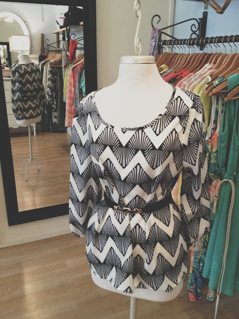 Funky Patterned Black & White Blouse