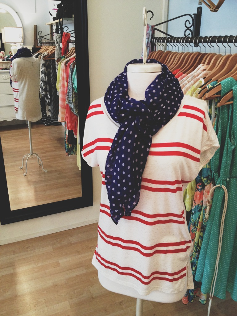 Red and White Striped Tee with Navy Blue Polka Dot Scarf