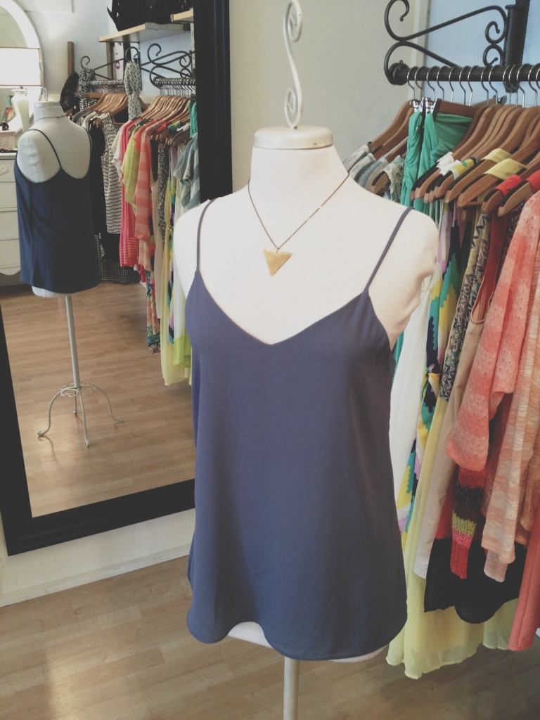 Loose Gray Tank with Gold Triangle Necklace