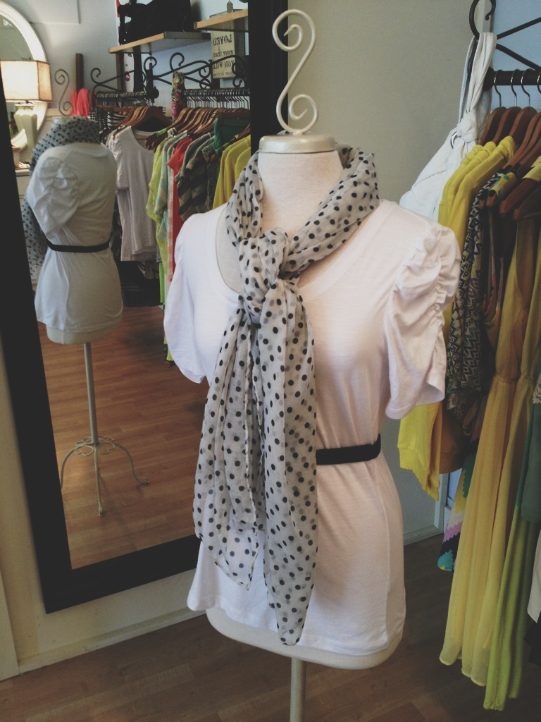 White Top with Black and White Polka Dot Scarf