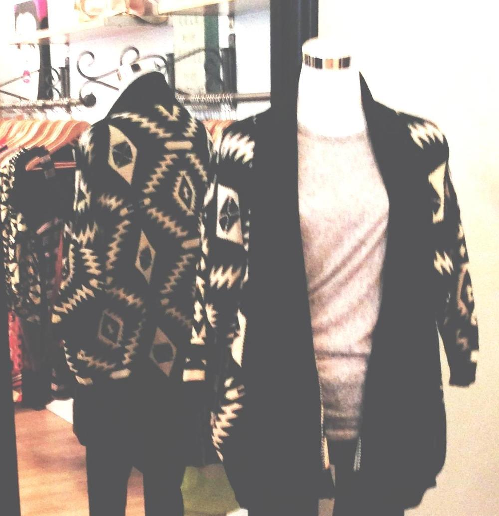 Black and cream tribal print open front sweater