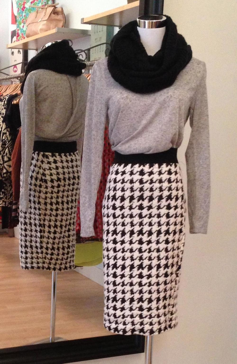 Houndstooth pencil skirt, $32