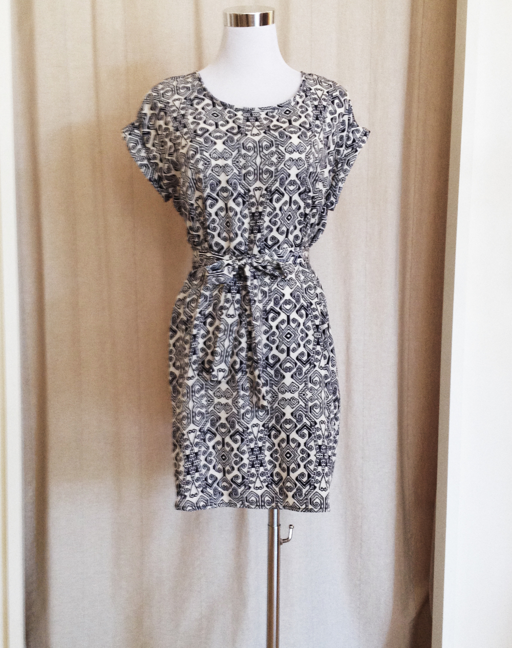 Navy and White Tribal Print Tunic Dress