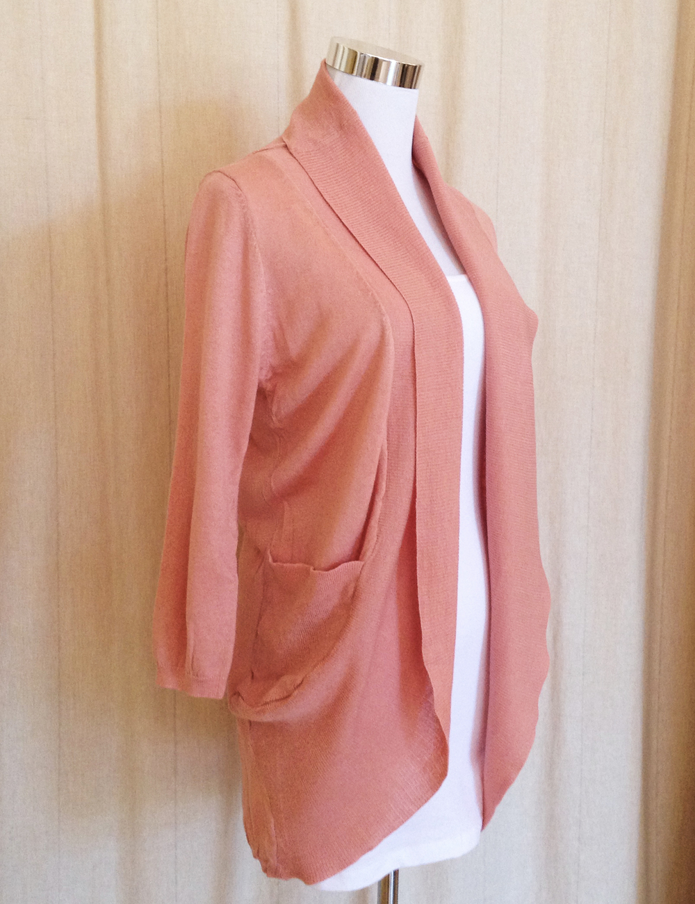 Pink Shawl Collar Cardigan
