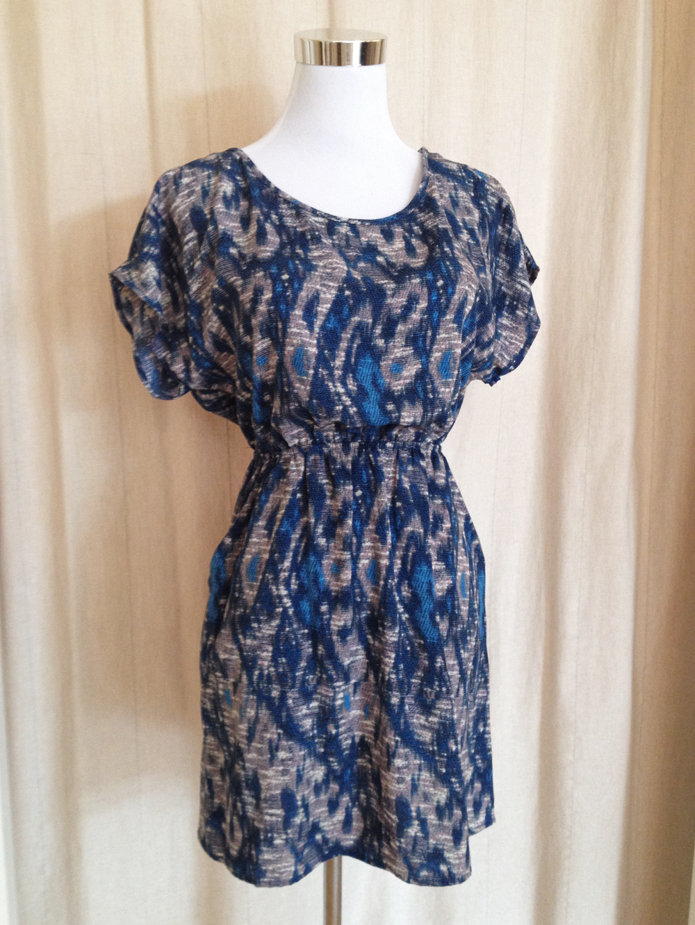 Blue Cap Sleeve Print Dress