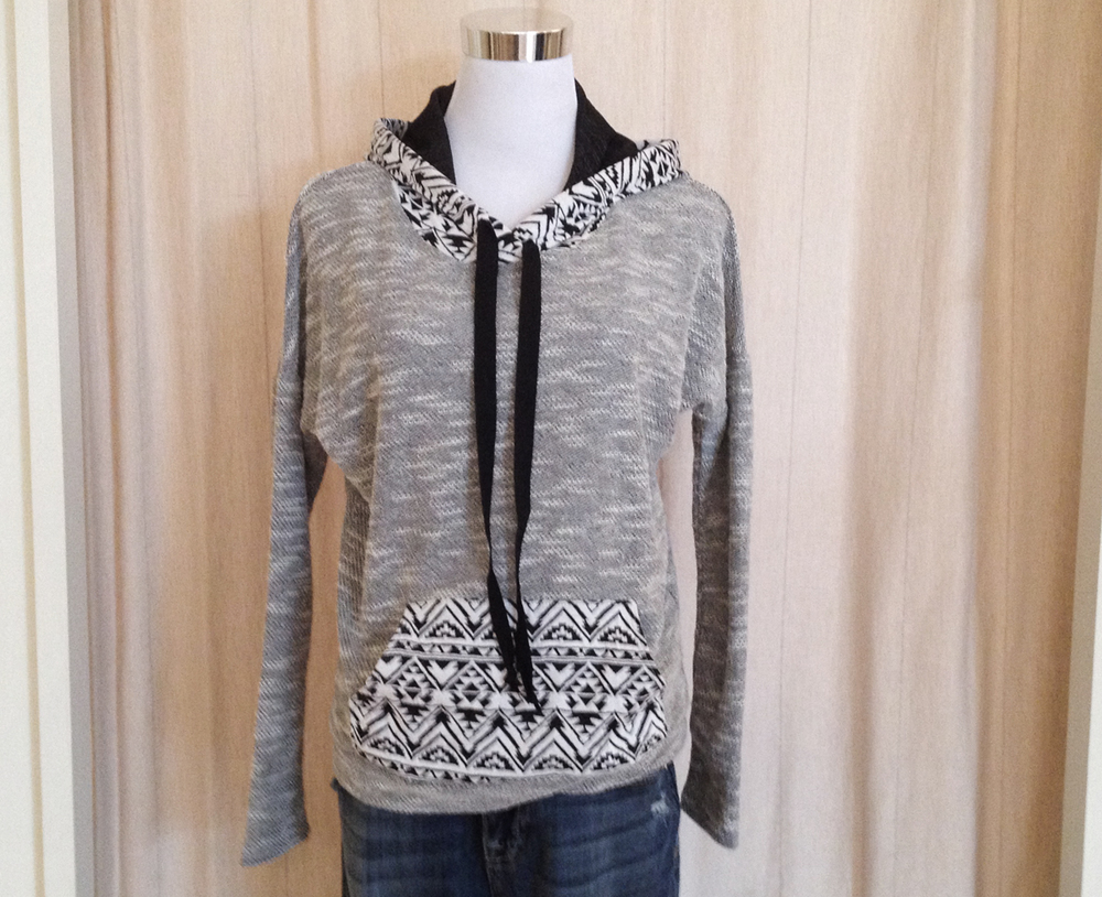 Gray Marled Hoody with Print Trim