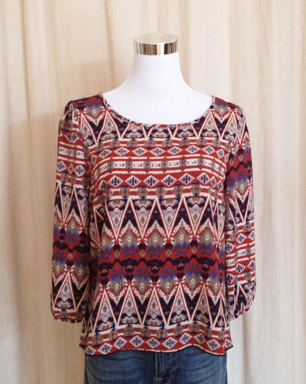 Rust Tribal Print Blouse