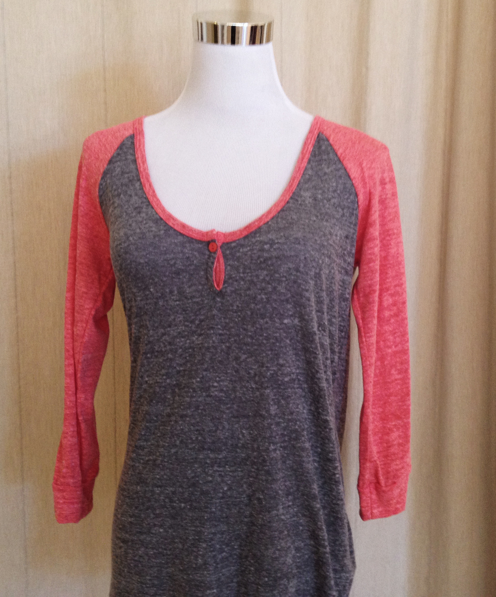 Pink and Taupe Baseball T-Shirt