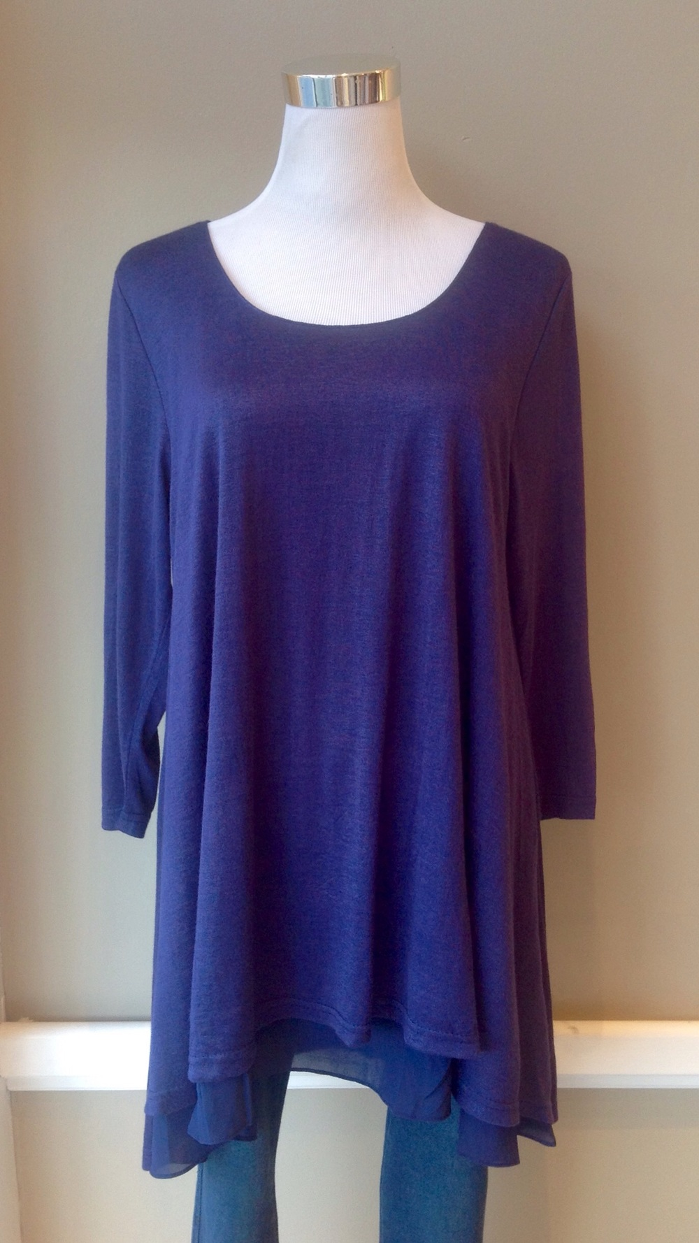 Layered lightweight tunic top in Royal Blue, $35