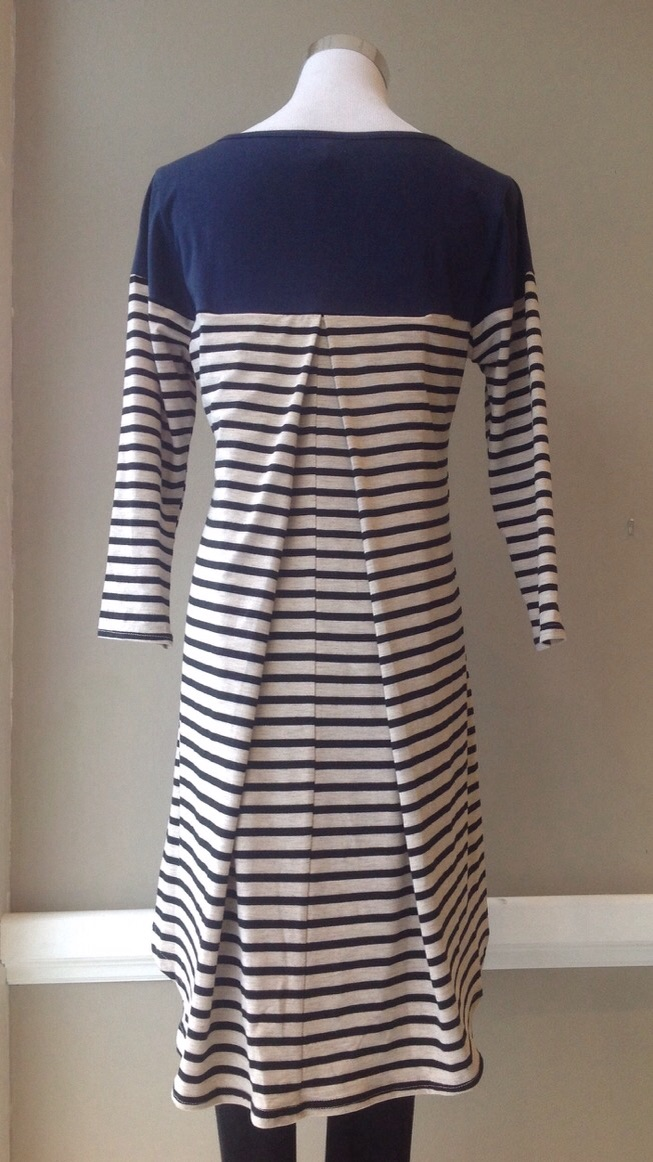Colorblock/stripe tunic dress with inverted pleat in Navy/Natural/Black, $38