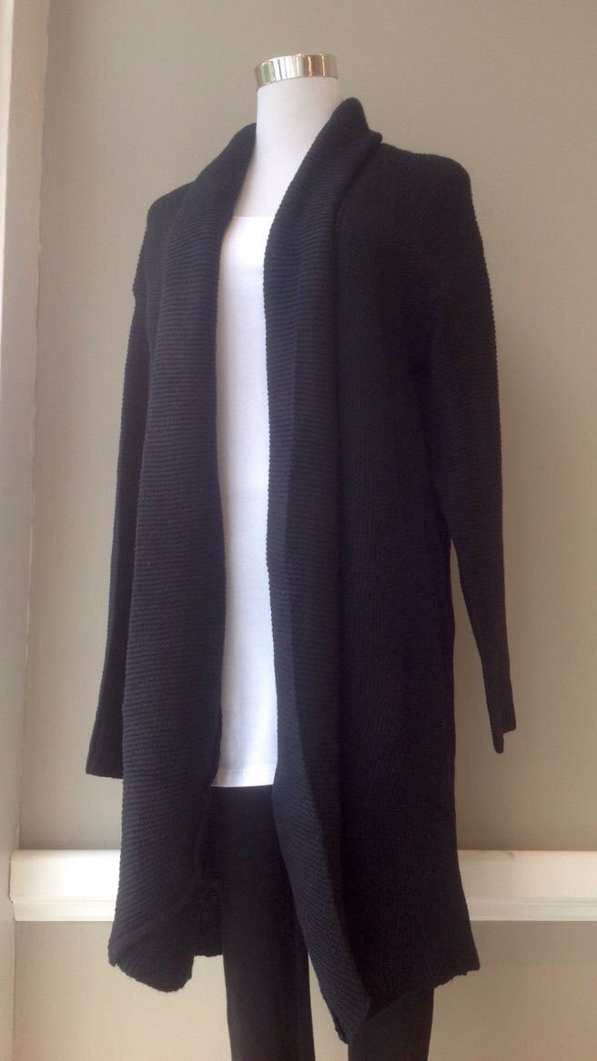 Black rib knit cardigan with shawl collar, $48