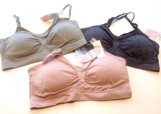 One size wireless bras with removable padding and interchangeable straps, $12