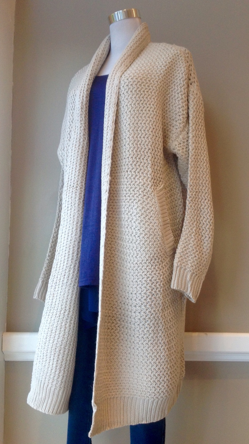 Double knit sweater coat in Oatmeal, $48