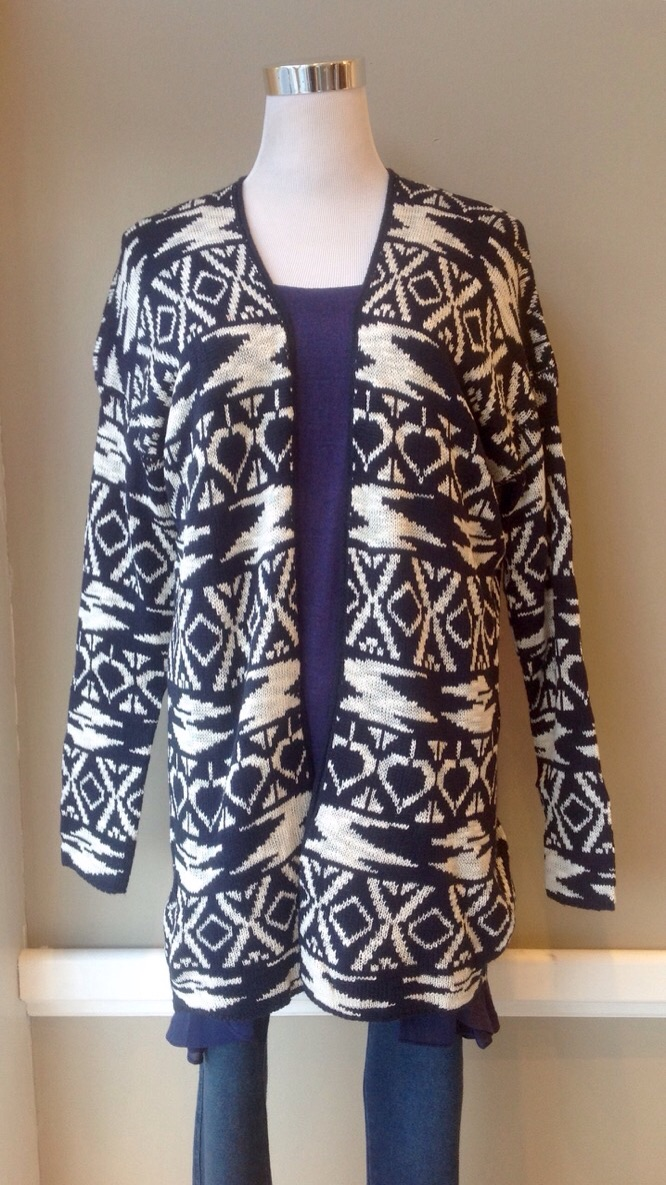 Dark Navy and Off-White geo print cardigan, $45