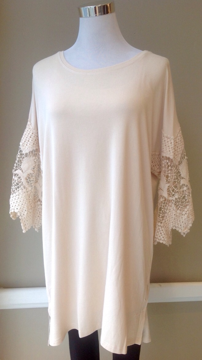 Tunic top with lace 3/4 sleeves in Taupe, $34